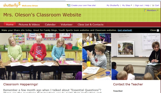 shutterfly classroom website example