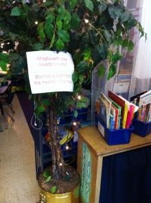 Need headphones? Visit the headphone lending tree!