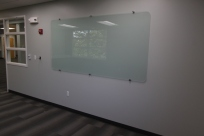 Crossroads Park Conf Room including the frosted glass that serves as a marker board.