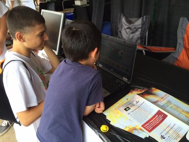 Brandon teaching game design at State Fair